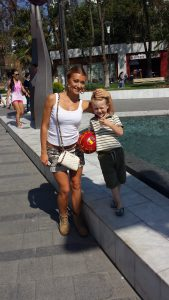 pretty ukraine girl and her son
